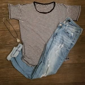 Madewell Black And White Striped Short Sleeve